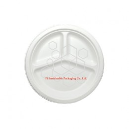 Disposable Christmas sugarcane paper pulp round plates 3 compartments