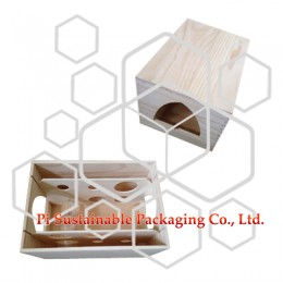 Personalised unfinished wood wine bottle packaging gift boxes for sale