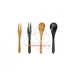 Mini disposable bamboo cutlery sets spoons and fork