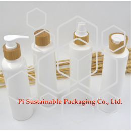 250ml eco friendly Custom cosmetic skincare packaging lotion pump sanitizer bottles supplies with luxury bamboo cap