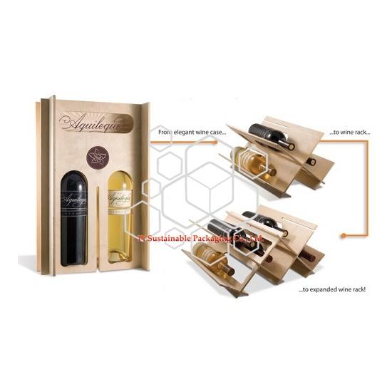 Botella de vino de madera inacabada personalizado caja de empaquetado por menor en venta