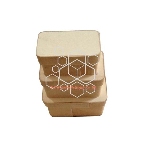 Boîtes d'emballage compostable plain inachevé en bois eco alimentaire en gros
