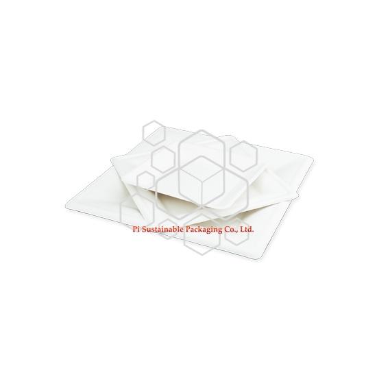 Platos desechables biodegradables fiesta de caña de azúcar papel celulosa cuadrado serie