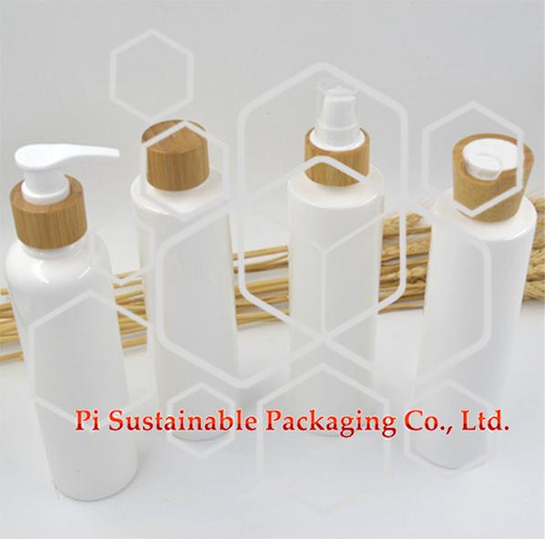 250 ml emballage produits flacon de cosmétiques personnalisés pour le soin de la peau Eau De Parfum Spray et bouteille vide de pompe à émulsion respectueux de l 'environnement avec chapeau de bambou de luxe