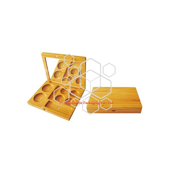 bamboo cosmetic skincare packaging boxes for makeup loose powder
