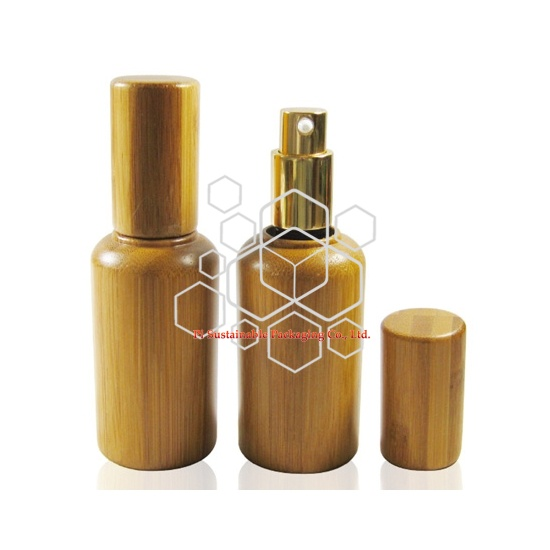 eco bamboo perfume packaging glass pump sprayer bottles